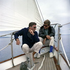 President John F Kennedy and Peter Lawford Aboard the Yacht Manitou